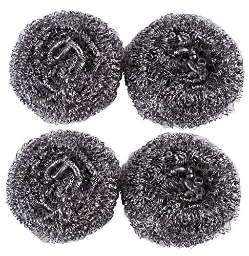Stainless Steel Scourer Metal Sponges Scrubbers Pads for Home Kitchen Greasy Dirt Cleaning, 4 Pack
