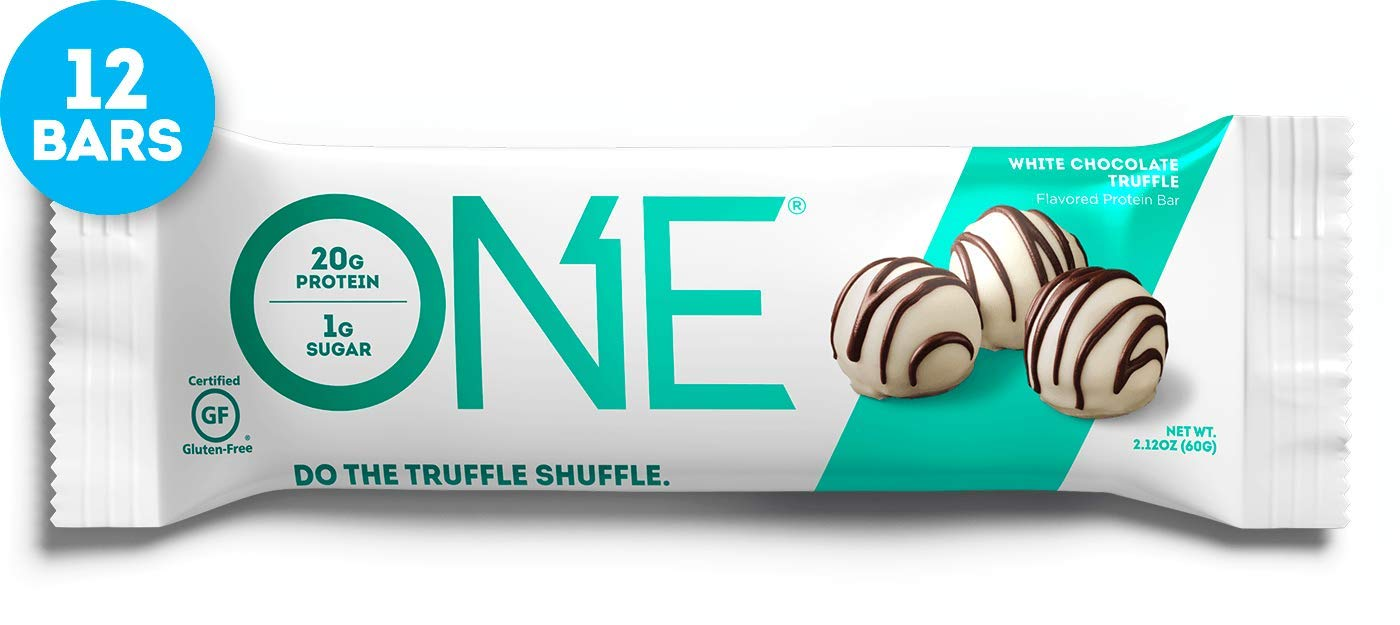 ONE Protein Bars, White Chocolate Truffle, Gluten Free Protein Bars with 20g Protein and only 1g Sugar, Guilt-Free Snacking for High Protein Diets, 2.12 oz (12 Pack) by ONE