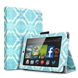 Amazon Kindle Fire HD 7 2014 Case Damask Blue - Slim Folding Cover Case for Amazon Kindle Fire HD 7 Inch 2014 Tablet With Smart Cover Auto Wake Sleep