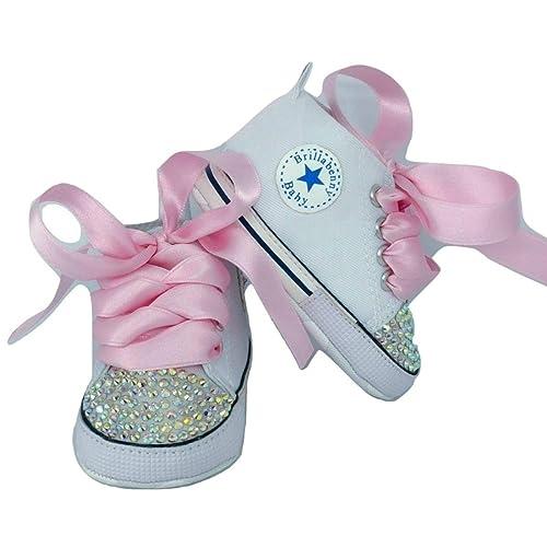 f149e4016b425 BrillaBenny Scarpine Scarpe Sneakers Strass Bianche Bimba Bimbo Neonato Baby  Shoes White Birthday Party Princess