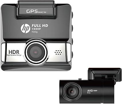 HP F660G Dual Dash Cam Front 1080P Rear 720P Car Camera Wide Angle Night Vision Digital Video Recorder Built-in GPS G-Sensor Emergency Detect Park Monitor Mode Loop Recording 2 Inch LCD Screen