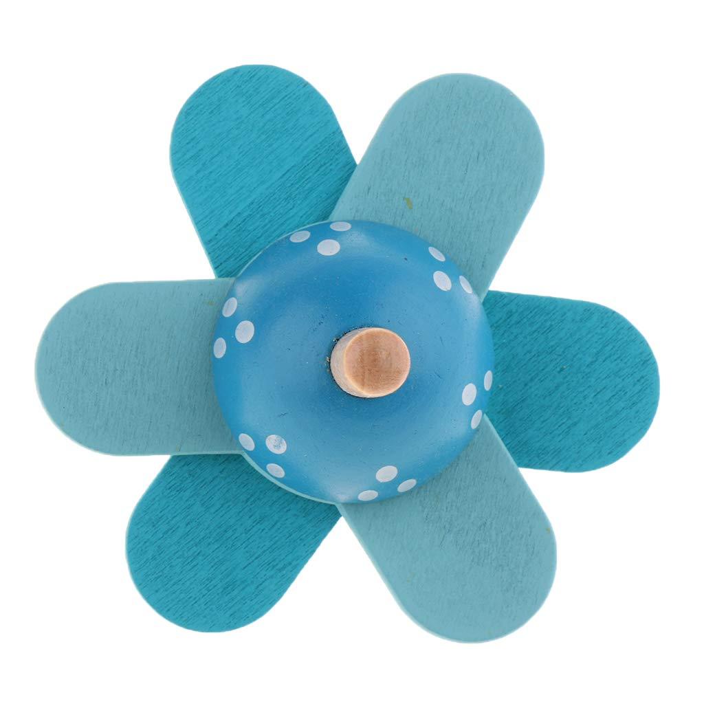 KESOTO Toupie en Bois Jouet Traditionnel pour Enfant Bleu
