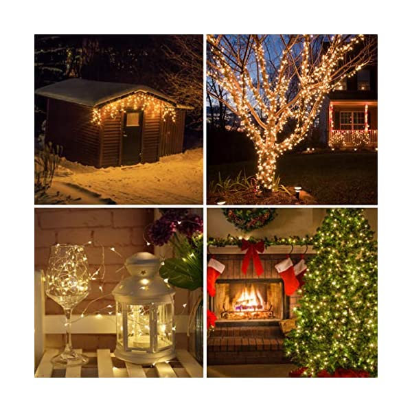 Catena Luminosa Solare QXMCOV Impermeabile Stringa Luci LED Stringa Luci Solari Lucine Decorative per Camere da Letto Giardino Casa Feste Matrimonio Bianco Caldo 1 Pezzi