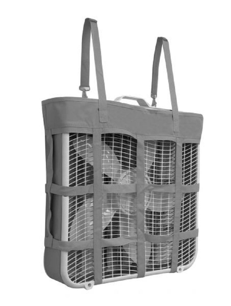 Showman GRAY Durable Nylon Box Fan Hay Bag Summer Adjustable Carrier Holder Harness