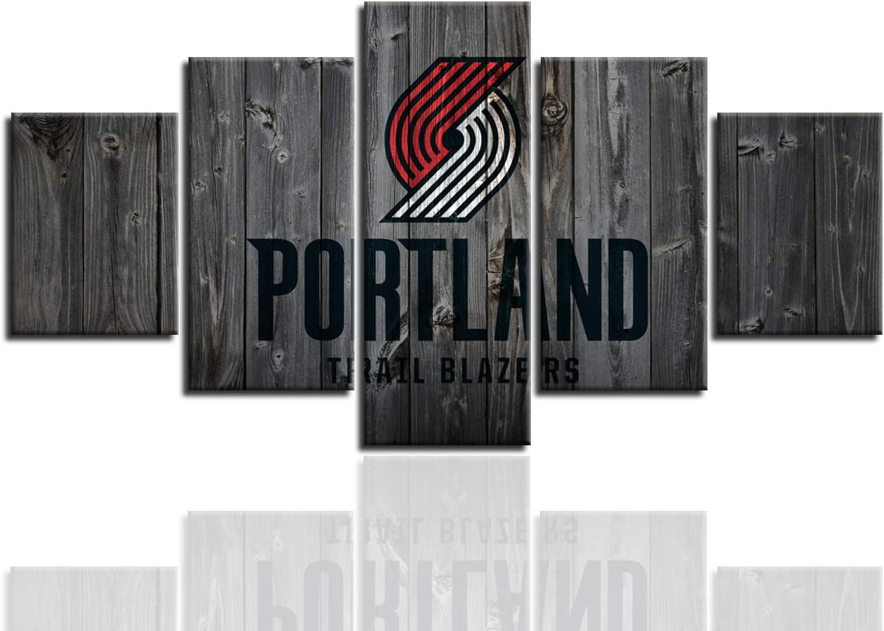 MIAUEN Portland Trail Blazers Wall Art Posters Pictures Home Decor Canvas Prints 5 Panel Basketball Sports Decoration Paintings Ready to Hang(60''Wx32''H)