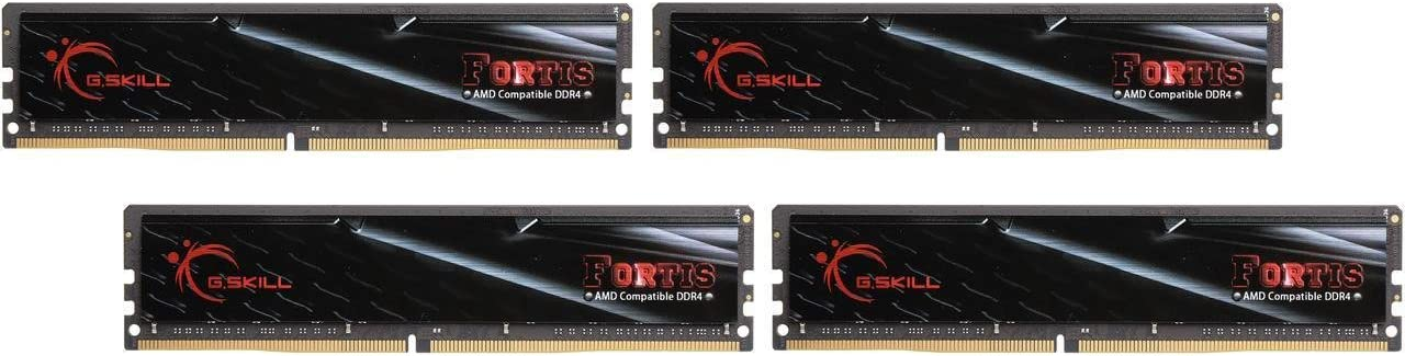 G.SKILL 32GB (4 x 8GB) Fortis Series DDR4 PC4-19200 2400MHz 288-Pin AMD X370 / B350 / A320 Memory (Desktop Memory) Model F4-2400C16Q-32GFT