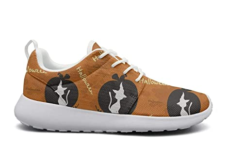 b59c06da9 ktyyuwwww Women Girls Colorful Cool cat Halloween Orange Novelty Sports  Running Shoes