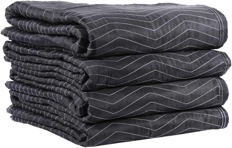 US Cargo Control Preferred Mover Moving Blankets - 80 Inches Long By 72 Inches Wide - Strong and Durable Black Polyester Material - Protect Your Valuables During A Move Or While In Storage - 4 Pack