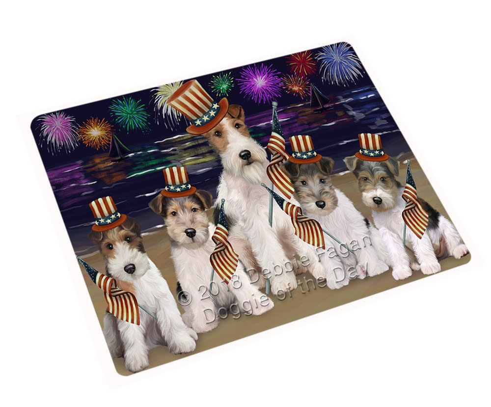 """4th of July Independence Day Firework Wire Hair Terriers Dog Large Refrigerator/Dishwasher Magnet RMAG72990 (18"""" x 24"""")"""