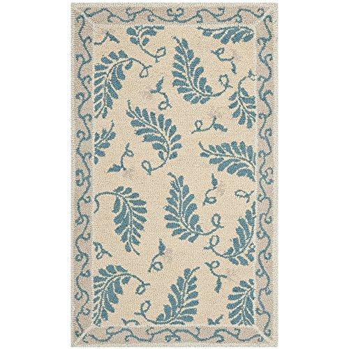 Small Hooked Rug (Safavieh MSR3753A Martha Stewart Collection Wool Area Rug, 2-Feet 6-Inch by 4-Feet 3-Inch, Fern Frolic Plumage Blue)
