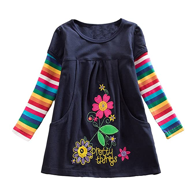 DXTON Little Girl Children Kid Long Sleeve Flower Cotton Dresses LH5802BLUE-4T