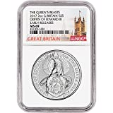 2017 UK Great Britain Silver Queen's Beast (2 oz) Griffin Early Releases London Label 5 Pound MS69 NGC