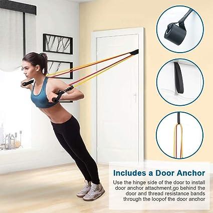 Victoper Conjunto de bandas de resistencia (11 piezas): con 5 tubos de ejercicios, anclaje de puerta, manijas y bolsa de transporte, para ...