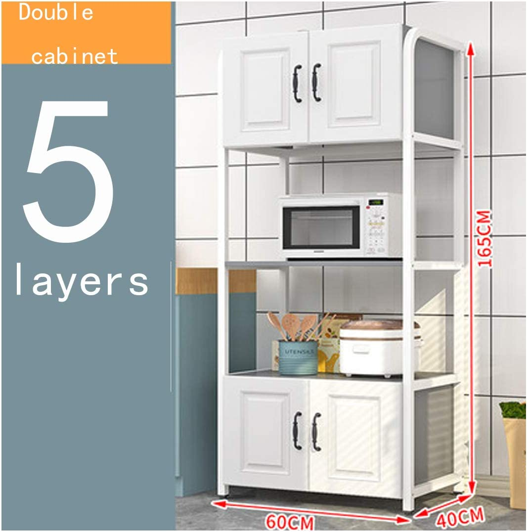 Amazon Com Kokof Kitchen Racks European Style Floor To Ceiling Multi Layer With Cabinet Doors Household Multi Function Storage Rack Oven Microwave Storage Rack White Double Cabinet Five Layers White1 Home Kitchen
