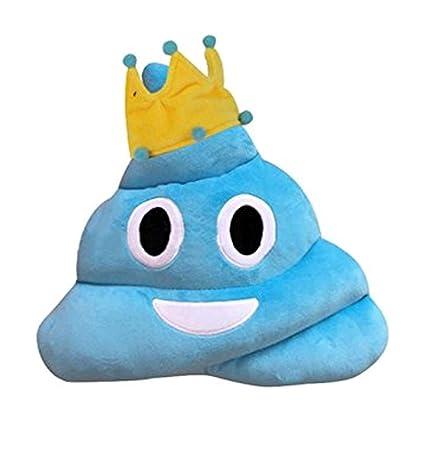 Amazon.com: Lindo Emoji Emoticon Cojín Azul Poop forma de ...