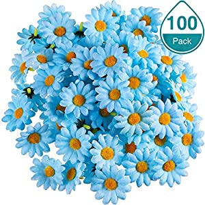WILLBOND 100 Packs Fabric Daisy Flower Heads Fake Flowers 4 cm Artificial Daisies Craft for Easter Bonnet Wedding Party Decorations 73