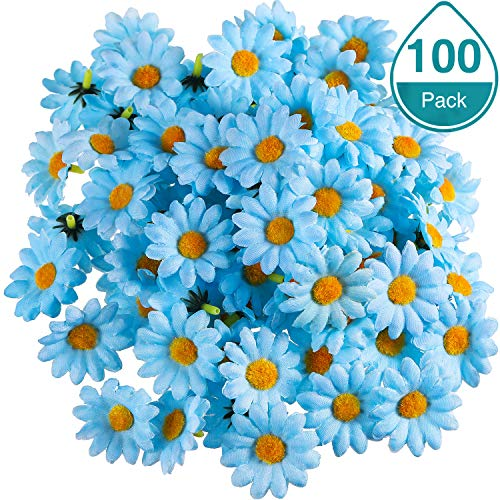 WILLBOND 100 Packs Fabric Daisy Flower Heads Fake Flowers 4 cm Artificial Daisies Craft for Easter Bonnet Wedding Party Decorations (Light Blue) ()