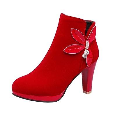 SHOWHOW Damen Schleife Strass Spitz Zehen Kurzschaft Stiefel Mit Blockabsatz Rot 38 EU ZeKKlgmAW