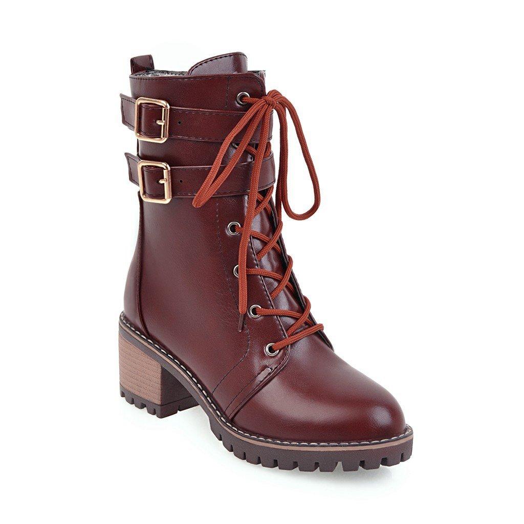 DYF Schuhe kurze Stiefel Dick unten Rauhe Rauhe Rauhe ferse Belt Buckle Strap Farbe, Dunkelbraun, 36 ef7a3d