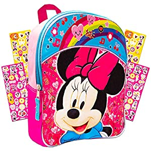 Disney 11″ Toddler Minnie Mouse Preschool Backpack Set with Over 300 Stickers