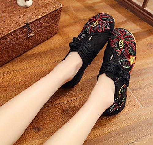 Negro Baile de Estilo de Mujeres Zapatos Chino Flores Bordados Zapatos Planos Ocasionales Zapatos 7wxqAvCx