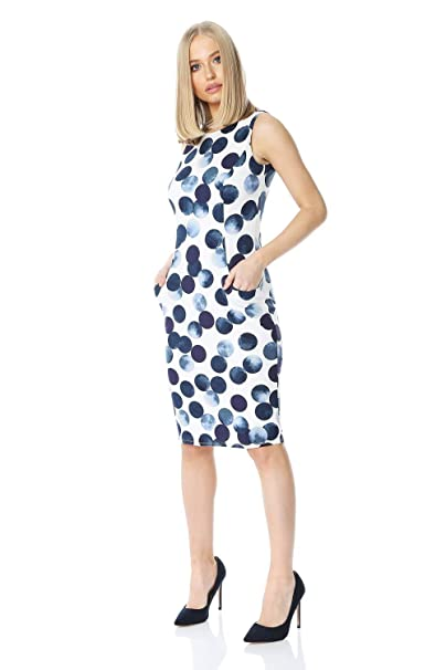 004890632ba Roman Originals Women Spot Print Dress with Pockets - Ladies Scuba Fitted  Wedding Guests Special Occasion Spring Summer Party Dotty Printed Classic  Shift ...