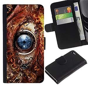 KingStore / Leather Etui en cuir / Apple Iphone 4 / 4S / Tecnología de ojos Ai Robot Biotech Futuro