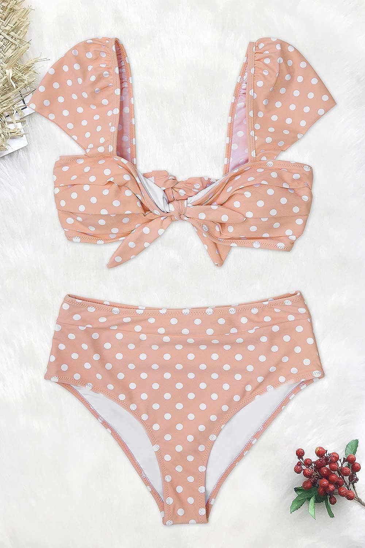 629de26e29282 Amazon.com: CUPSHE Women's Peach Polka Dot High Waisted Bikini: Clothing