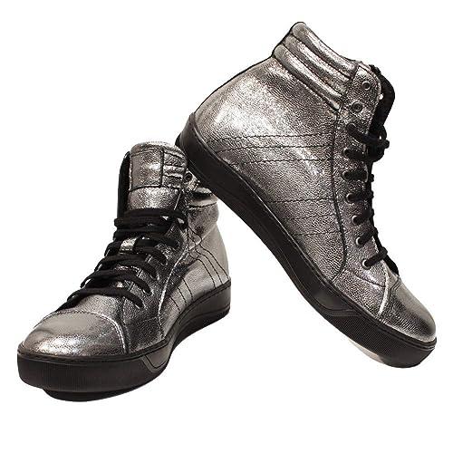 Modello Silviko - Cuero Italiano Hecho A Mano Hombre Piel Plata Zapatos Casuales Sneakers - Piel de Cabra Cuero Suave - Encaje: Amazon.es: Zapatos y ...