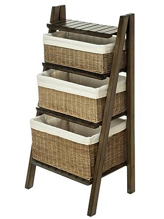 KOUBOO escalera estantería con cestos de mimbre: Amazon.es ...