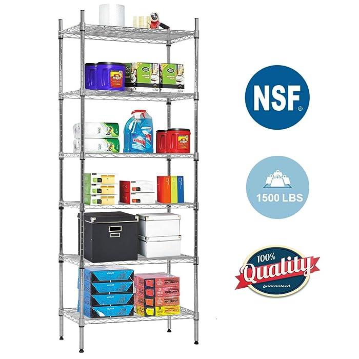 NSF Wire Shelf Organizer 6 Wire Shelving Unit Metal Storage Shelves, Utility Commercial Grade Heavy Duty Height Adjustable Leveling Feet Steel Layer shelf Rack 1500 LBS Capacity-14x24x60,Chrome
