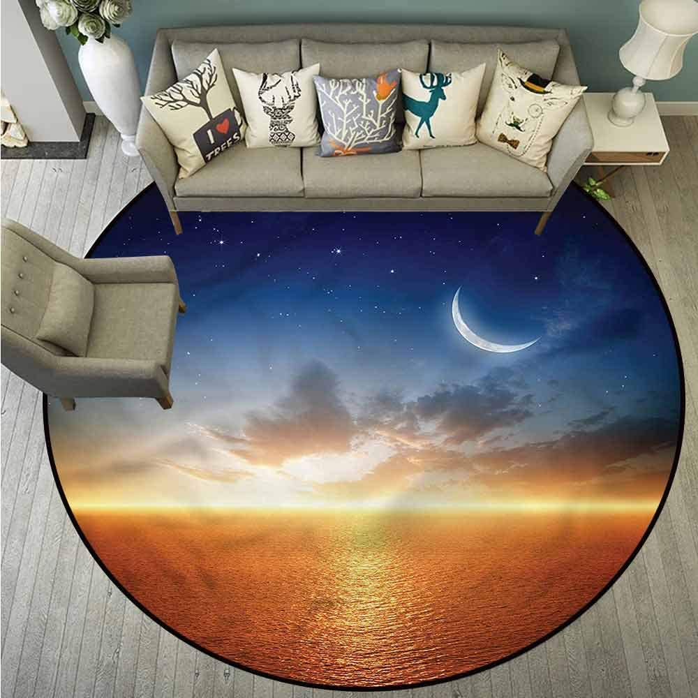 Round Rugs,Ocean,Sunset Sky Moon Stars,Large Area mat,4'3""