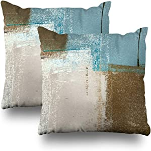 Set of 2 Decorative Pillow Case Throw Pillows Covers for Couch Indoor Bed 18 x 18 Inch, Blue Brown Abstract Art Painting Home Sofa Cushion Cover Pillowcase Gift Bed Car Living Home
