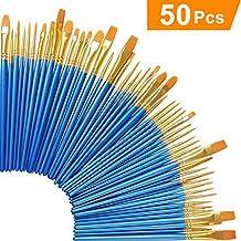 Acrylic Paint Brush Set, 5 packs/50 pcs Nylon Hair Brushes for All Purpose Oil Watercolor Painting Artist Professional Kits