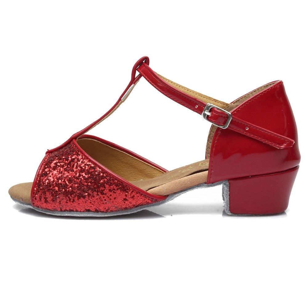 HROYL Girls Dance Shoes Sequins Latin/Chacha/Samba/Modern/Jazz Dance Shoes Ballroom S-G05