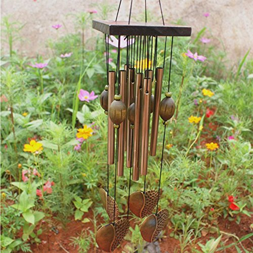 Wind Chimes - Antirust Copper Wind Chimes Lovely Outdoor Living Yard Garden Decorations 2019 Birthday Gifts To - Angel Butterfly Room Dragonfly Tubes Engrave Religious Green Animal Horses Hook Pu