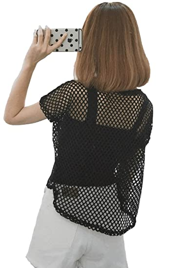 f50cfffa19f7 Women's Short Sleeve Mesh Floral Lace Crochet Crop Top (One Size, 02-Black