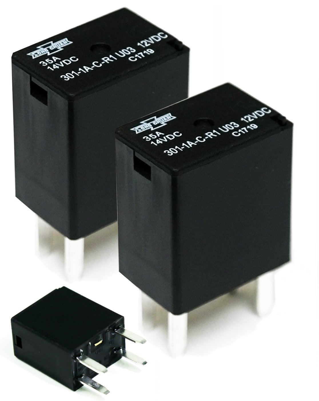Song Chuan 301-1A-C-R1-U03 12VDC Micro 280 SPST 35A Relay (Pack of 2)