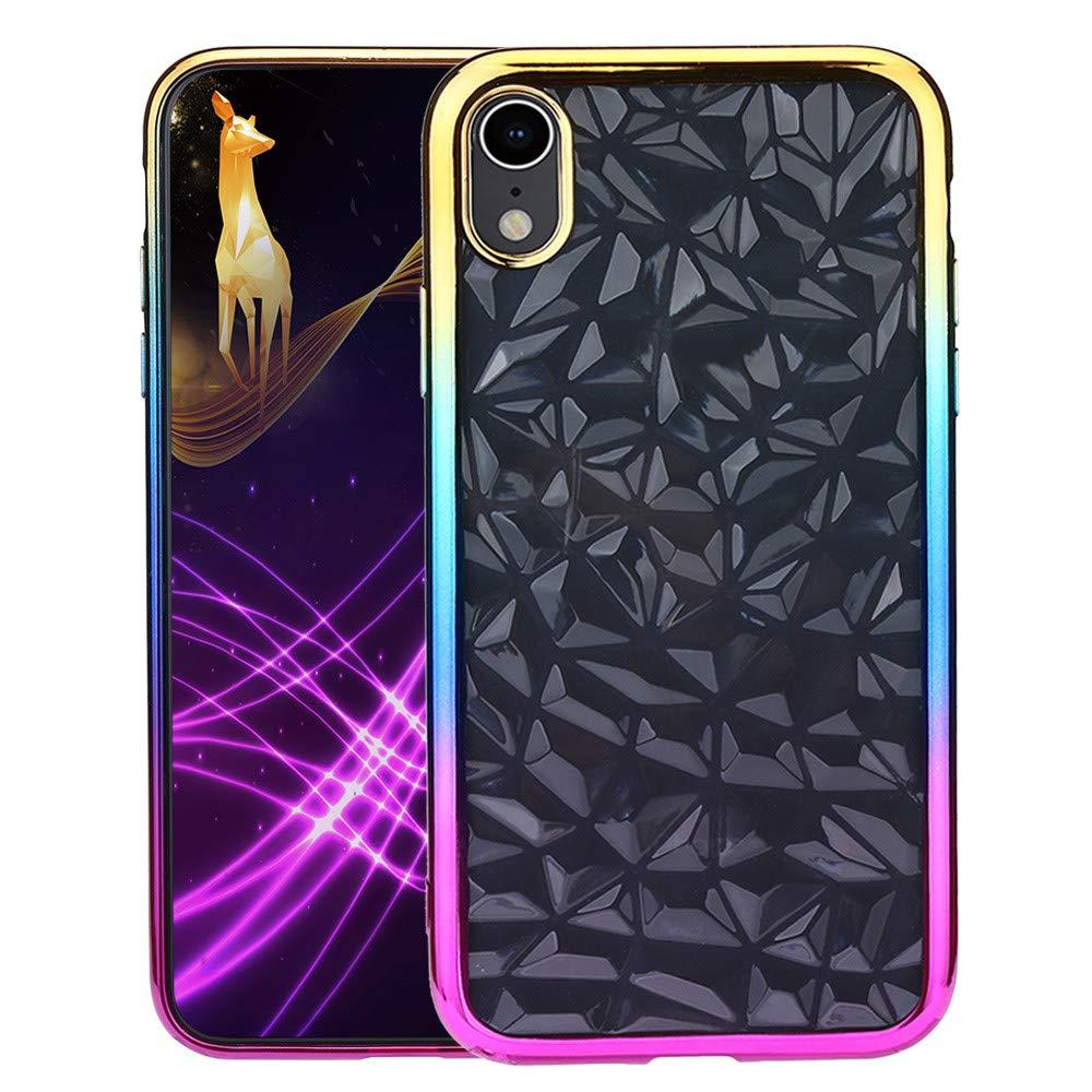 Fü r Iphone XR 6.1 Zoll Hü lle,Colorful Ultra Slim 3D Diamant Prism Pattern Handyhü lle Klar Kristall Soft Cases Jewel-Like Strukturiertes Design Kratzfest TPU Gel Schutzhü lle Thin Cover fü r Iphone XR 6.1 Zoll, B