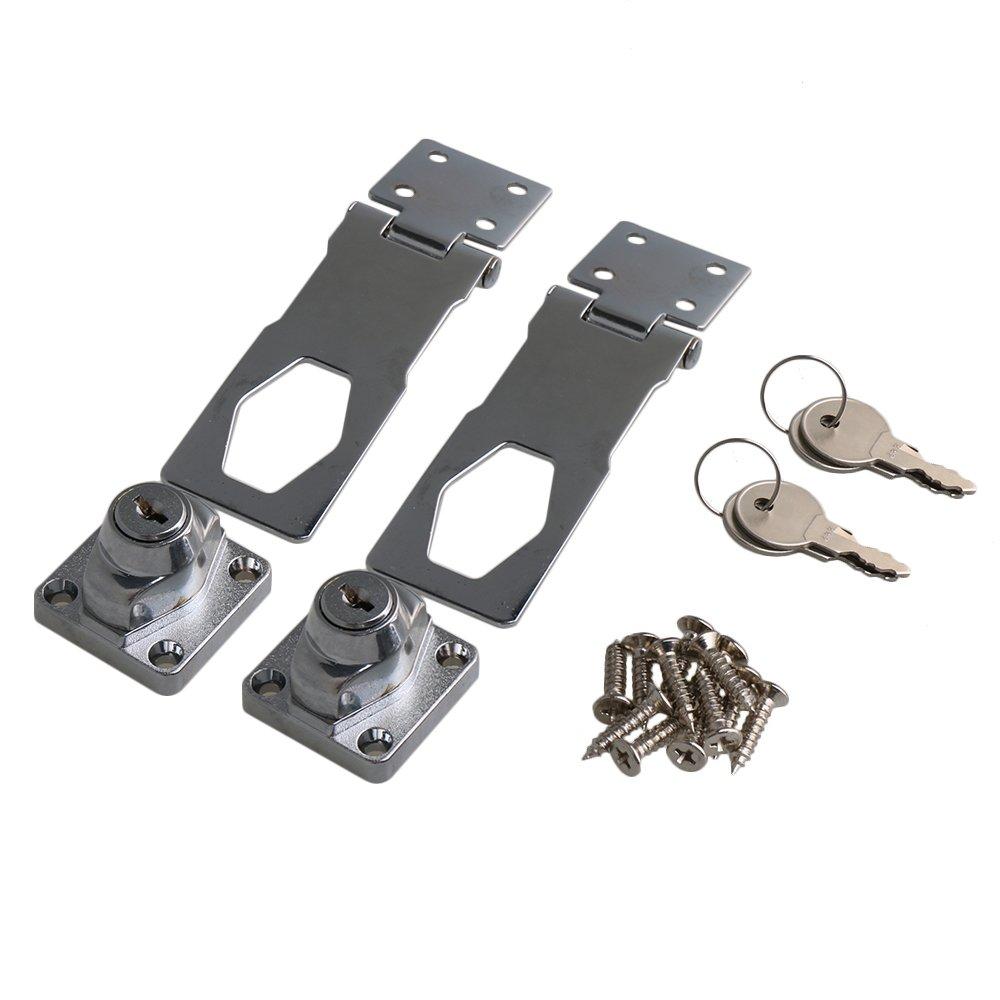 BQLZR lunghezza argento in lega di zinco con chiave fermaglio Twist knob Keyed Hasp di blocco W/viti per piccole porte armadi, confezione da 2 M4180509104