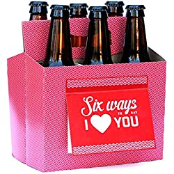 Beer Greetings - Love + Thanks + Hooray - Six Pack Greeting Card Box (Set of 4 Card Boxes in Heart You, Thanks, Hooray Designs)