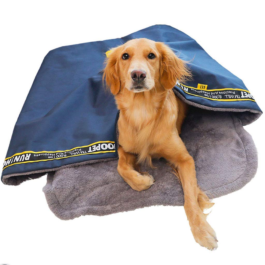 Navy 75x65x38cmYangMi pet bed Dog Sleeping Bag Small Medium And Large Cats And Dogs General Winter Warm Pet Sleeping Bed House (color   Navy, Size   75x65x38cm)