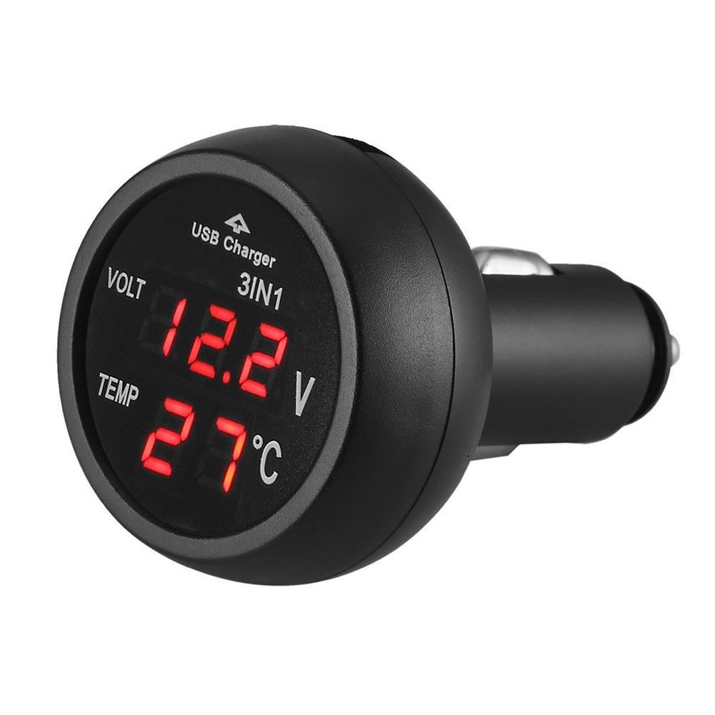 starnearby 3 in 1 auto 12/24 V LED digitale voltmetro + Termometro + caricatore USB