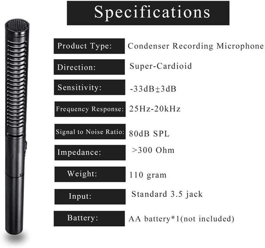 HWENJ Broadcast-Quality Interview Condenser Shotgun Microphone with Foam Windscreen and Shock Mount 3 Pin XLR Output for Canon 6D 5D3 Nikon D800 DSLR Camera Sony A9 Panasonic Camcorders