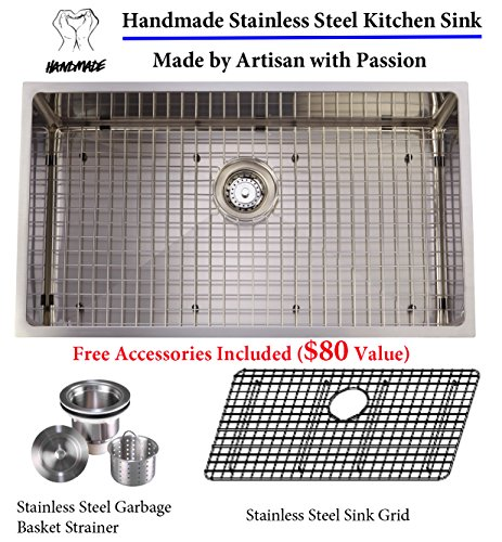 Unbeatable Value Package Deal 16 gauge Aquarius Undermount Single Bowl Stainless Steel Kitchen Sink Package (Sink+Grid+Strainer)