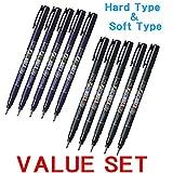 Tombow Fudenosuke Brush Pen - Hard Type & Soft Type Eaah 5 Pens Total 10 Pens Arts by Tombow