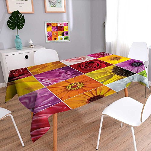 SCOCICI1588 Water Resistant Tablecloth Chrysanthemum Rose Sunflower Violet Romance Botanical Plants Great for Buffet Table, Parties, Holiday Dinner, Wedding & More-W50 x L102