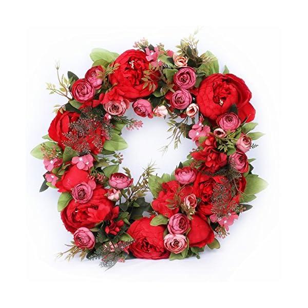 LI HUA CAT Simulation Flowers Garland Wreath Rattan Door Hanging Porch Artifical Flowers Peony Wedding Arrangement Decor Silk (red Small)