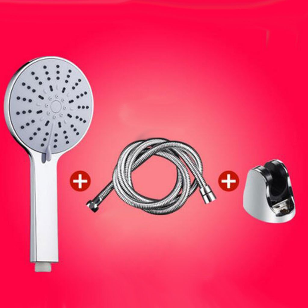 Shower head + base + 200 cm high-density hose Rollsnownow Black base 2 meters super high-density burst-proof hose shower accessories shower shower head ABS plastic large area five water forms free control hand shower shower head large panel