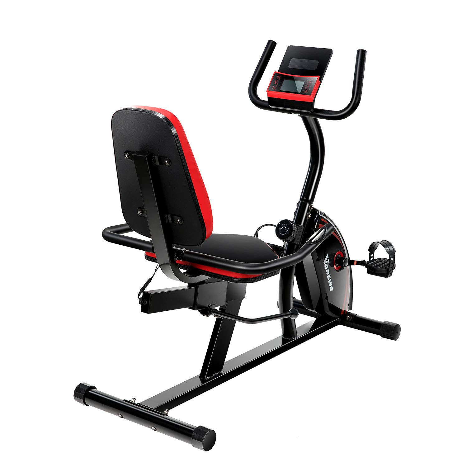 Magnetic Tension Exercise Bike Adjustable Resistance Recumbent Bike Transport Wheels Fitness Stationary Bicycle (Red/Black)